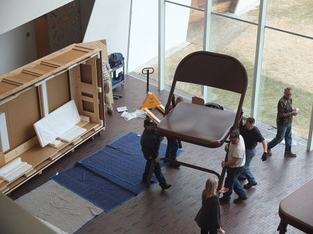 Installing Robert Therrien's giant folding table and chairs