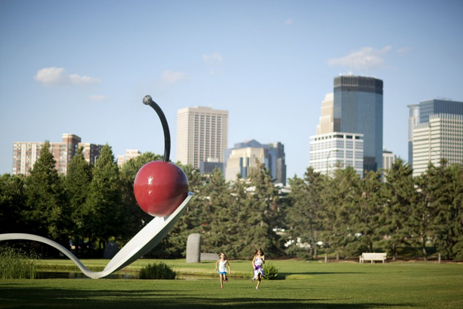 View of Claes Oldenburg and Coosje van Bruggen's Spoonbridge and Cherry (1985–1988) in the Minneapolis Sculpture Garden Collection Walker Art Center, Minneapolis Gift of Frederick R. Weisman in honor of his parents, William and Mary Weisman, 1988