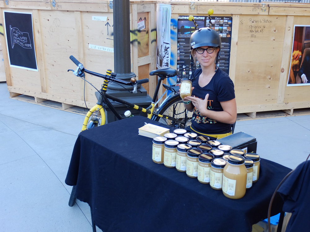 Vendors included The Beez Kneez, a Minneapolis-based honey producer, which delivers its wares on bikes. Pictured, Kristy Lynn Allen.