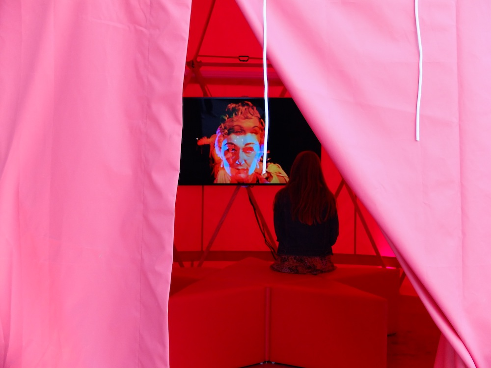 A peek inside Kenneth Anger's yurt, where Anger's Lucifer Rising was screening.