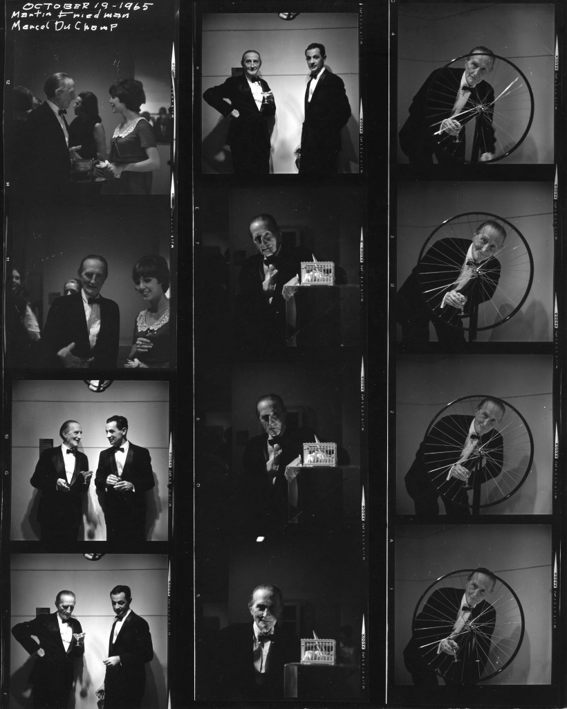 Contact sheet for opening of Marcel Duchamp exhibition, October 19,1965