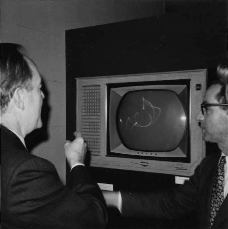 Martin Friedman and Hubert Humphrey, 38th Vice President of the United States, viewing Electronic Waltz.