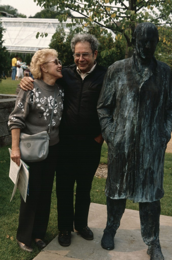 George Segal and Babe Davis with Walking Man, Minneapolis Sculpture Garden Opening, 10 September 1988