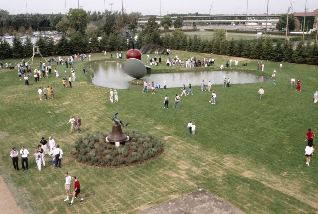 View of Spoonbridge and Cherry with surrounding landscape, Minneapolis Sculpture Garden Opening, 10 September 1988