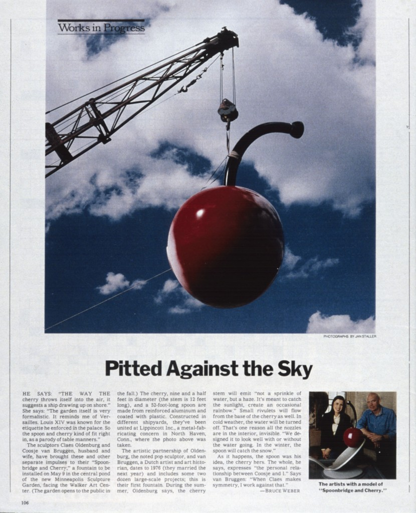 Minneapolis Sculpture Garden, New York Times article on Spoonbridge and Cherry, Page 106, 17 April 1988