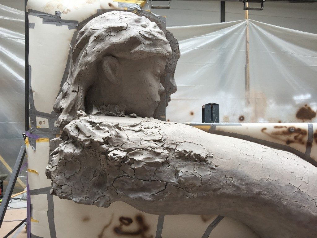 A Mark Manders sculpture in progress in his Belgium studio. Photo: Misa Jeffereis