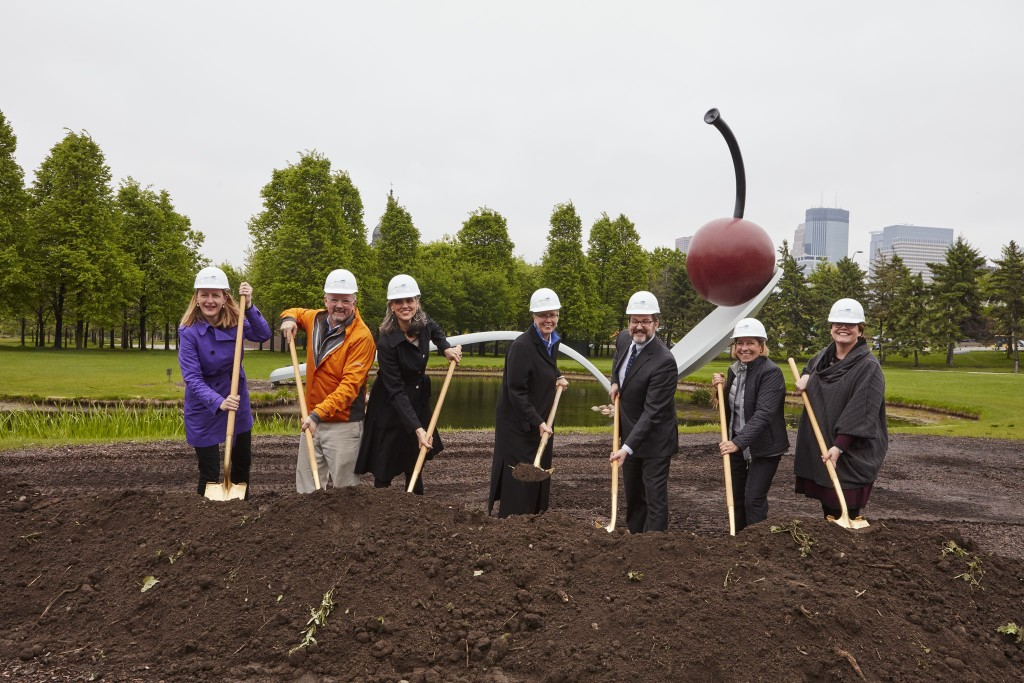 msg2016groundbreaking Minneapolis Sculpture Garden, May 10, 2016 groundbreaking ceremony for garden renovation to be completed by June 2017. L-R: Marion Greene, Jim Dayton, Olga Viso, Jayne Miller, Kevin Reich, Anita Tabb, and Margaret Anderson Kehiller.