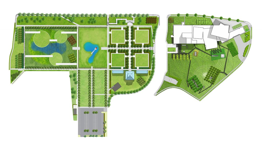 "The full campus schematic, with ""lilypads"" at left. Image: © HGA Minneapolis and oslund.and.assoc."