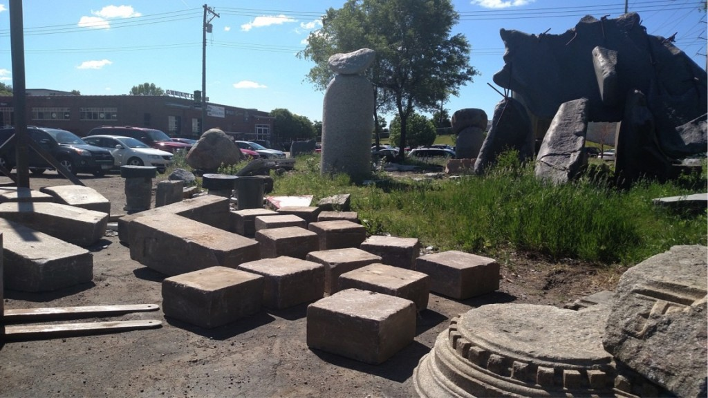 Stones from the garden arrive at Mojsilov's studio near the Grain Belt Brewery in July 2016.