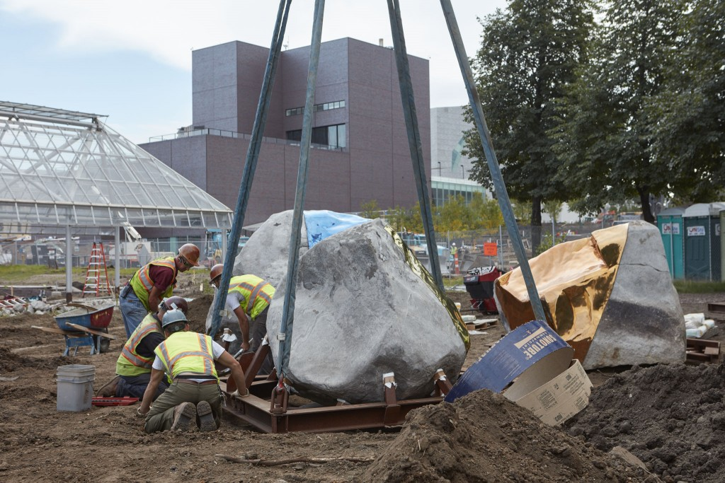 bg2016msg0915_Hodges Building & Grounds; Minneapolis Sculpture Garden; installaing Hodges boulders in the garden, September 15, 2016. Walker Campus Renovation; Cowles Conservatory; Barnes Building; Rocket Crane; crew.
