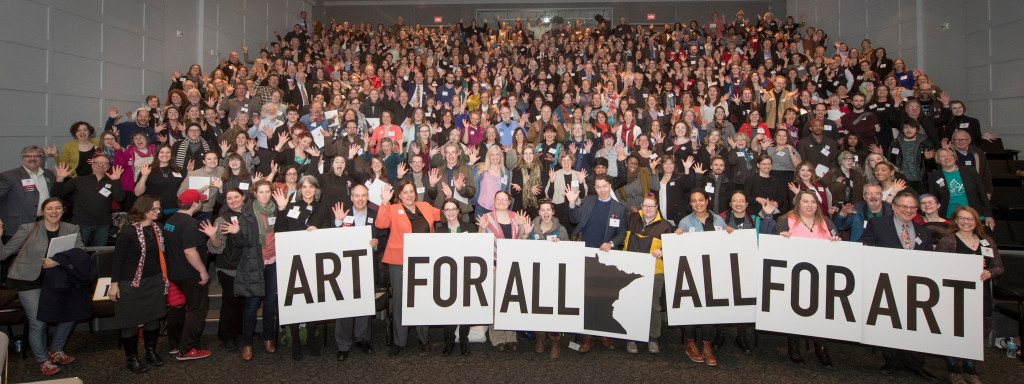 "Olgo Viso (front left, with ""ART"" sign) and others at Arts Advocacy Day 2017. Photo: Minnesota Citizens for the Arts"