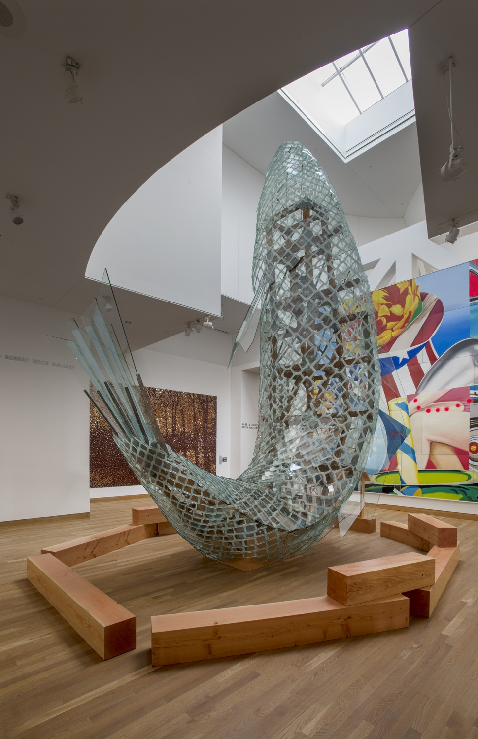 Frank Gehry, Standing Glass Fish, 1986, installed in the Weisman Museum at the University of Minnesota. Photo: Rik Sferra, February 15, 2016.
