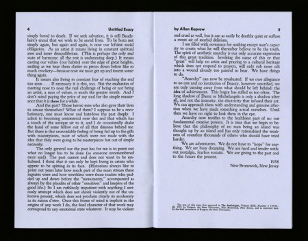 Spread from Allan Kaprow issue, Untitled Essay and other works, 1967