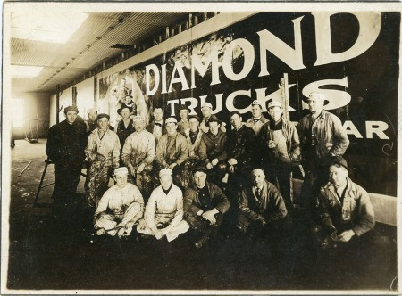 Dan Madsen's great grandfather Bernard Benson with his crew at General Outdoor Advertising, Minneapolis, Minnesota