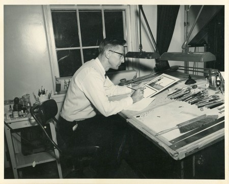 Dan Madsen's grandfather Larry Benson at his drawing table at the V.A. hospital, Minneapolis, Minnesota