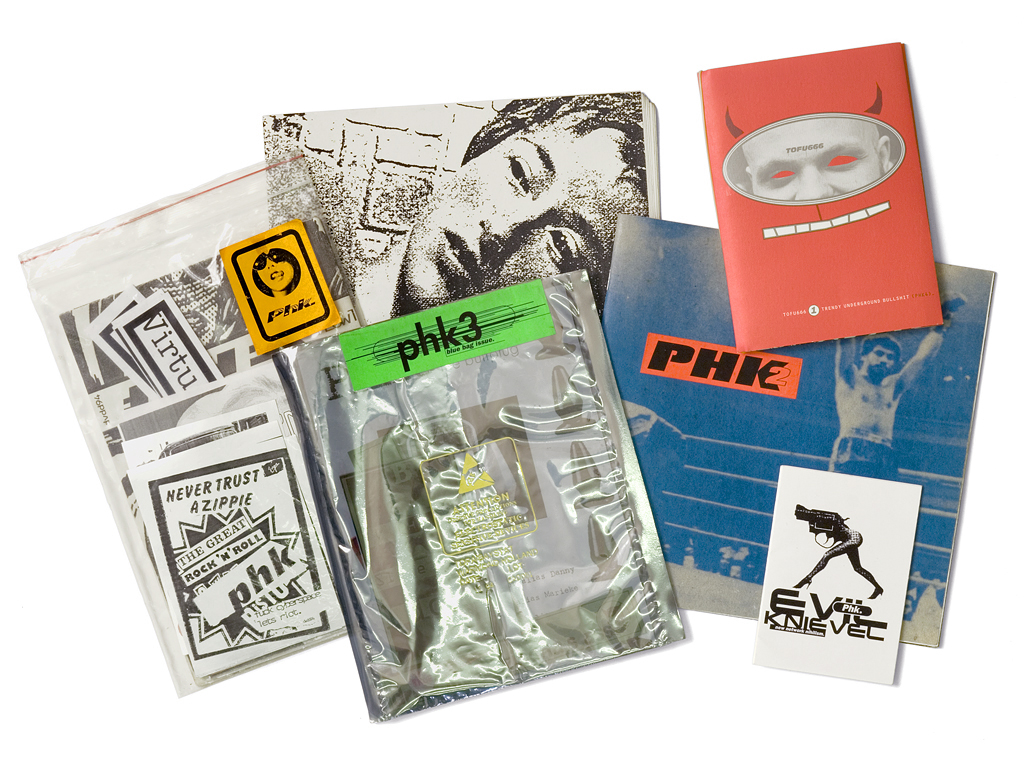 Issues of PHK (selection) / series of fanzines produced between 1994 and 1996. Designed by Experimental Jetset and Cindy Hoetmer.