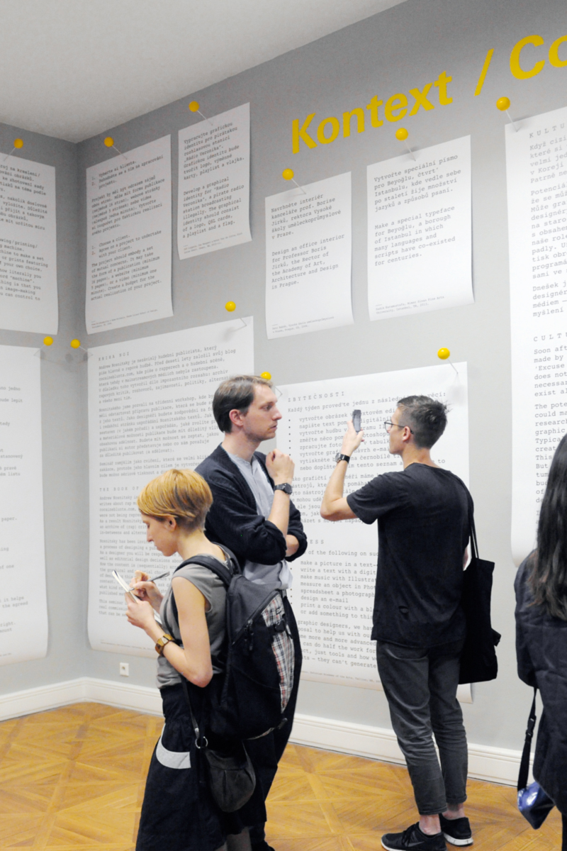 Blown-up assignment sheets pinned to the walls of Taking a Line for a Walk. (© Brno Biennial)