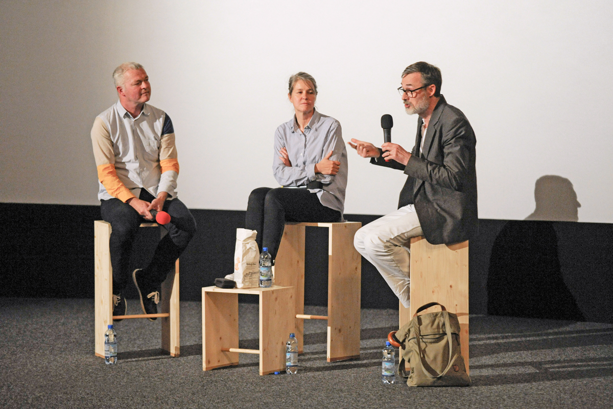 Biennial Talks: Armand Mevis and Linda van Deursen talk to curator Moritz Küng about their exhibition and their experiences as teachers. (Photo: Brno Biennial)