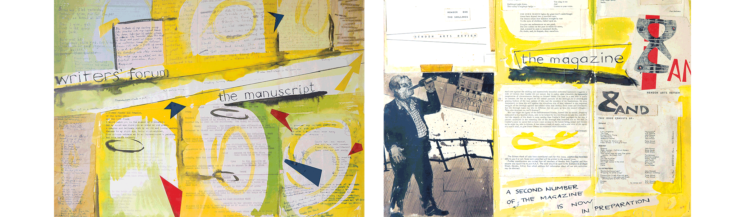 left to right: writers' forum the manuscript, 1952; Collage for AND magazine, 1955.
