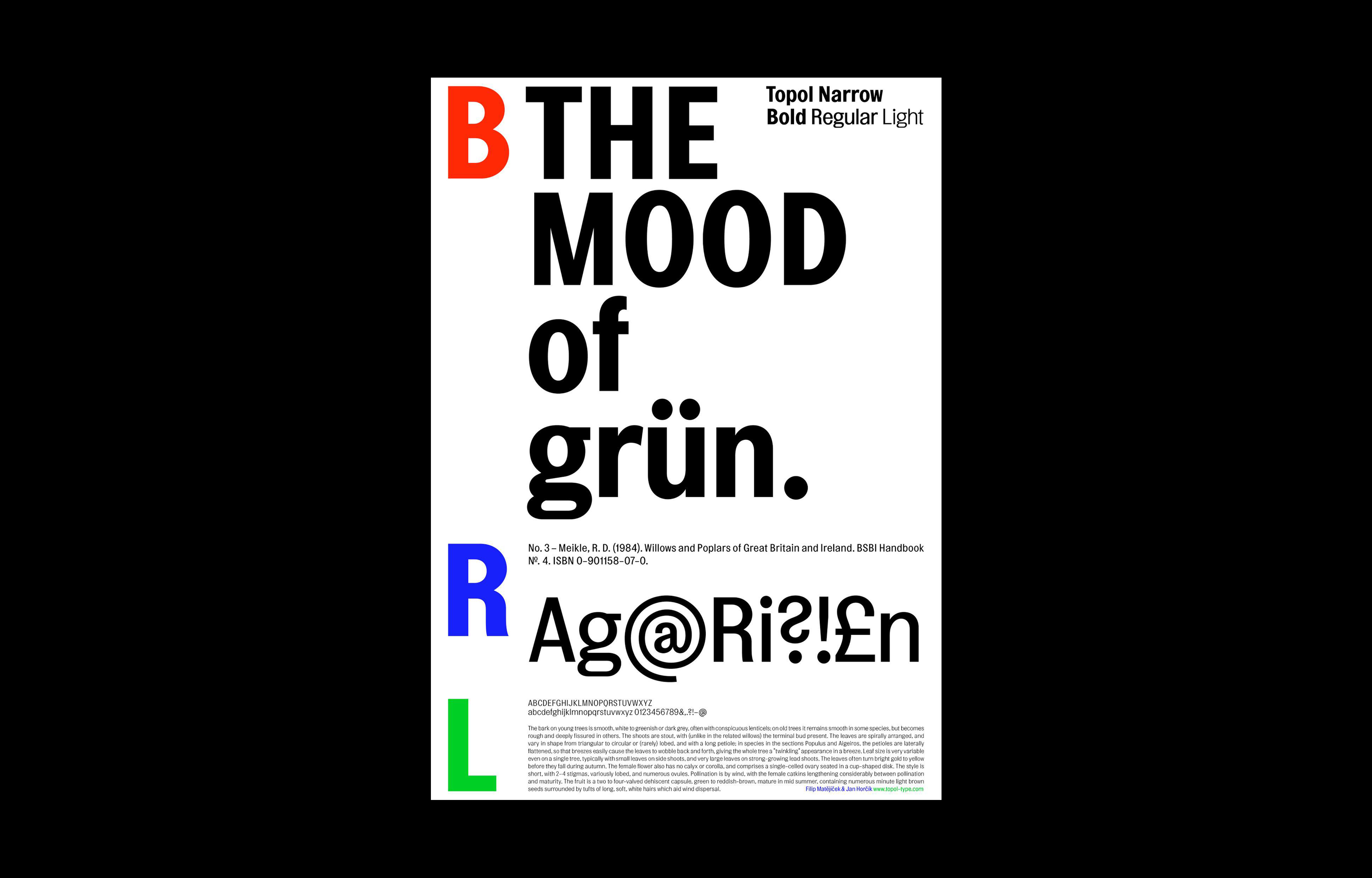 Heavyweight type specimen—silkscreened poster (594mm x 841mm); Font in use: Topol;