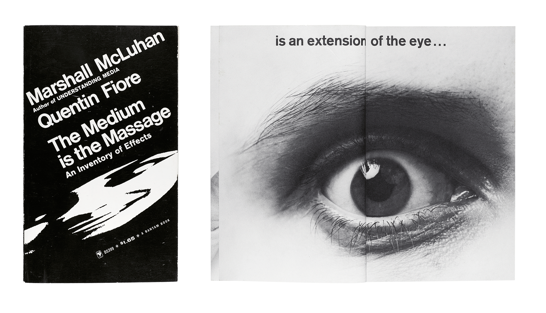 The Medium is the Massage: An Inventory of Effects 1967; bottom: Peter Moore, Eye from The Medium is the Massage 1967 Photo by Peter Moore/Licensed by VAGA, New York, NY