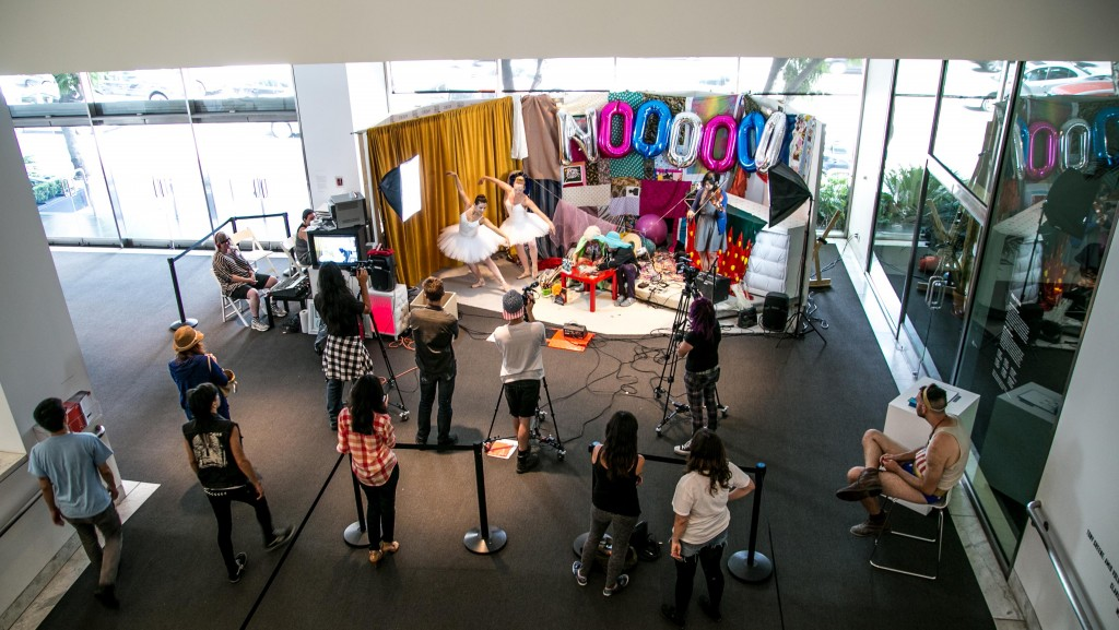 KCHUNG TV (2014). Live weekly television broadcasts produced by members of KCHUNG's contributing community in the lobby of the Hammer Museum. Image Courtesy of the Hammer Museum.