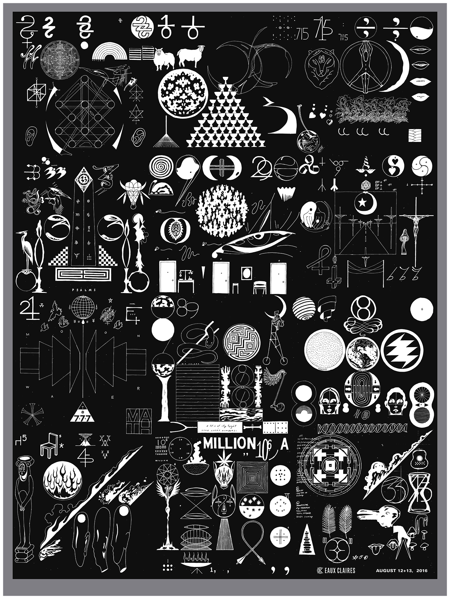 assortment of symbols and shapes on a poster