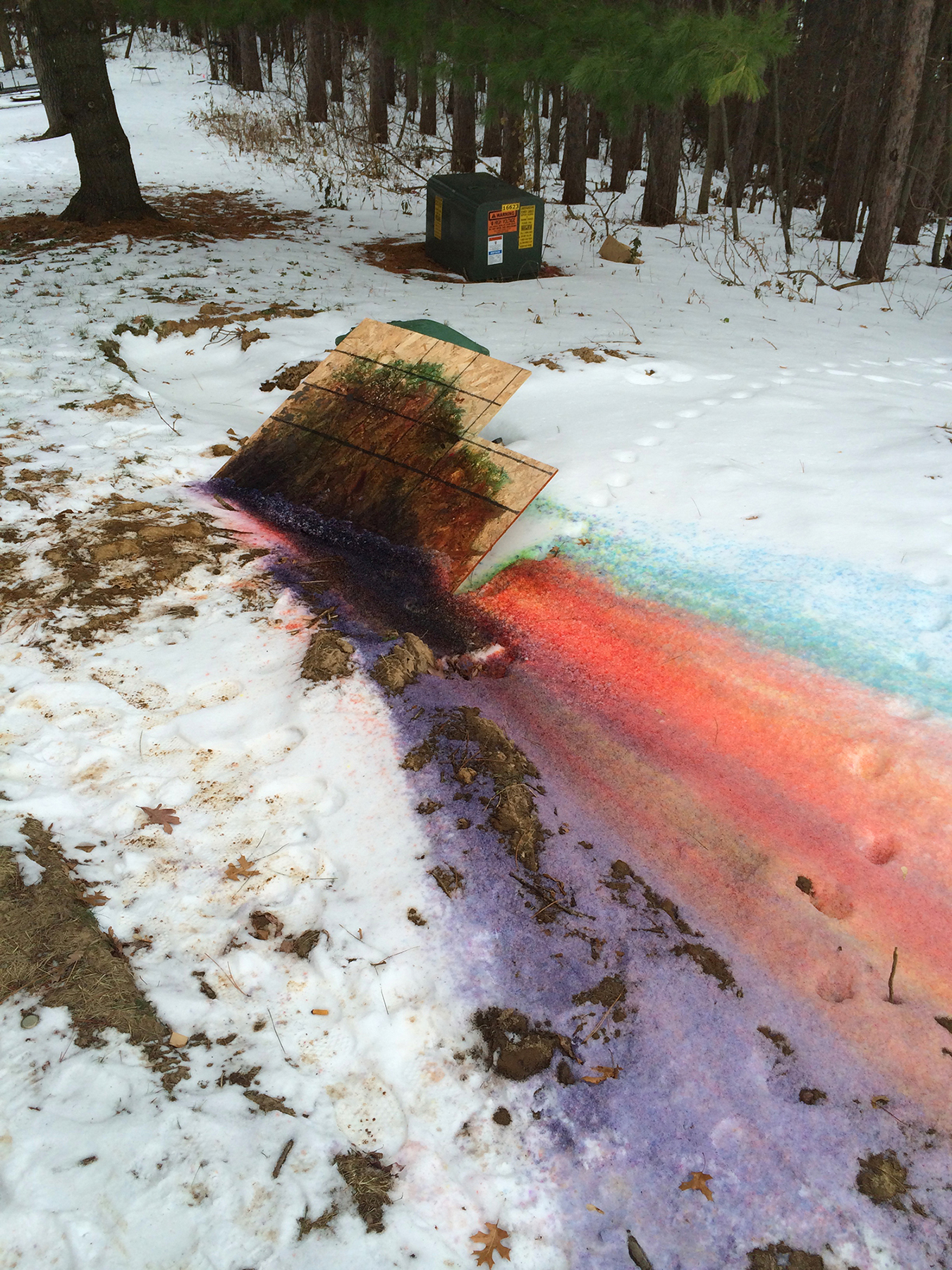 rainbow dye in snow