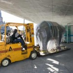 Elephant being moved into Walker Art Center