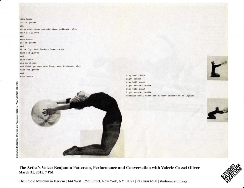 Program leaflet from the Studio Museum Harlem, which includes an image of Patterson's Methods and Processes (detail), 1962.