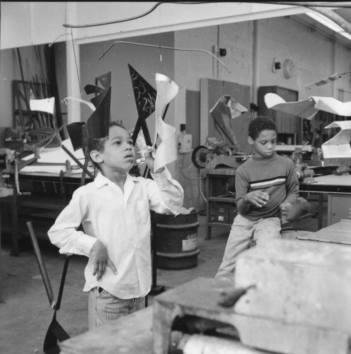 Students with Calder-inspired mobiles, 1968