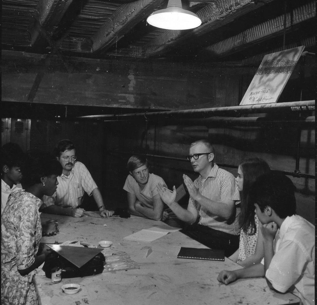 David Tomlinson (fifth from left) teaching at the workshop, 1968