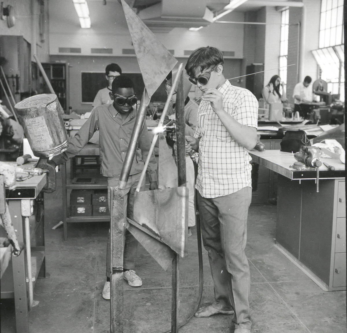 Students learn to weld, 1968