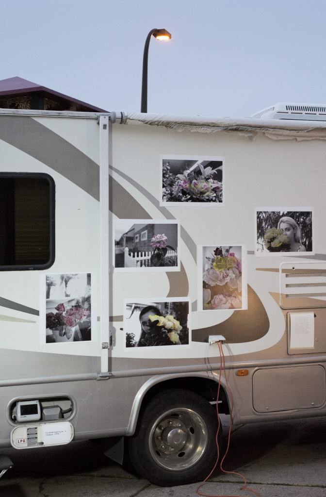 Photos displayed on the side of the infamous RV. Photo courtesy of Little Brown Mushroom.