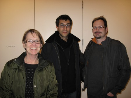 Walker Film Curator Sheryl Mousley, Ramin Bahrani, and Associate Film Curator Deant Otto