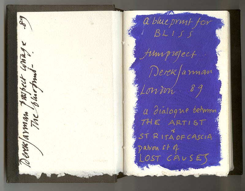 Title page of Derek Jarman's 'Bliss Book.' Collection: Estate of Derek Jarman