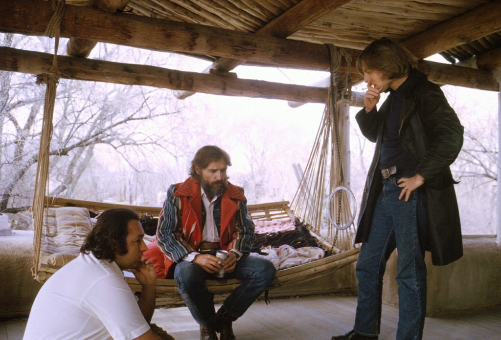 Lawrence Schiller, Dennis Hopper, and L.M. Kit Carson on set of The American Dreamer. ©Polaris Communications Inc., All Rights Reserved, Photo courtesy Lawrence Schiller 1971