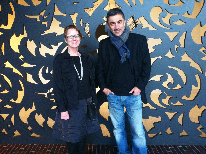 Ceyland with Senior Curator Sheryl Mousley in the Cargill Lobby of the Walker Art Center