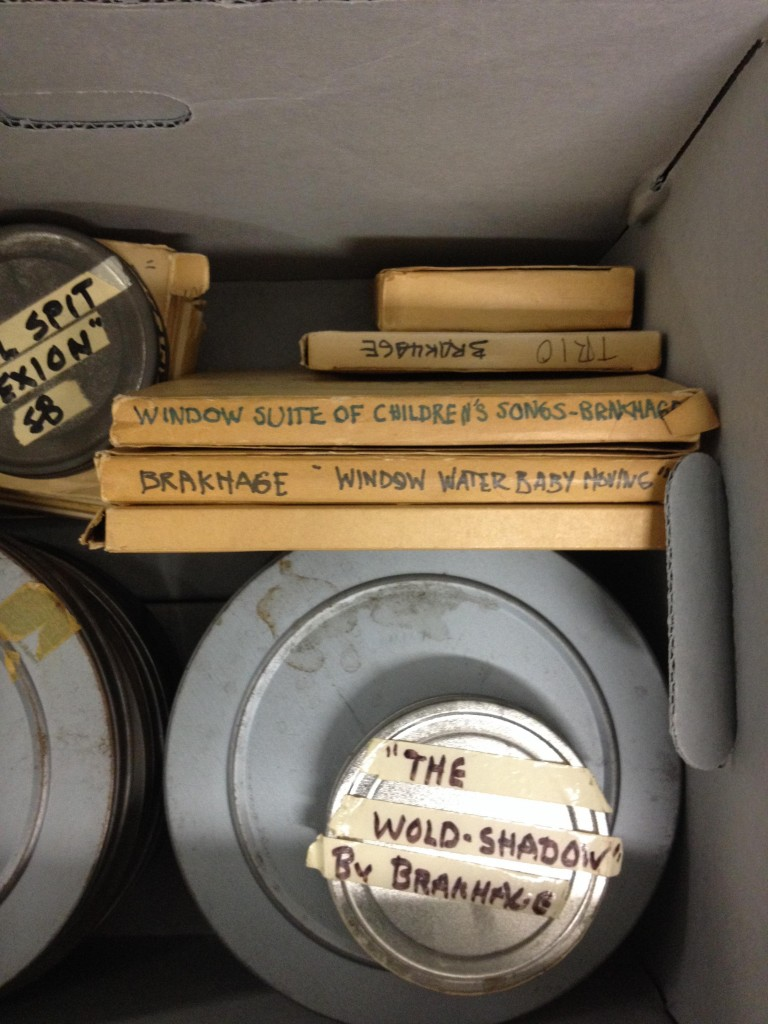 Stan Brakhage's original reels and packaging. Sally Dixon collection, Walker Art Center. Photo: Isla Leaver-Yap