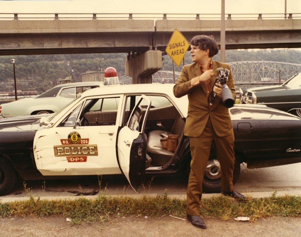 """Stan Brakhage shooting """"Eye"""" in Pittsburgh, 1975. Photo: Mike Chikiris"""