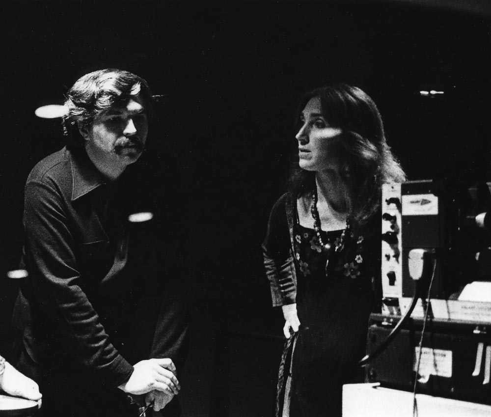 Stan Brakhage and Sally Dixon in Carnegie Museum of Art projection booth photo by Robert Haller, circa 1975