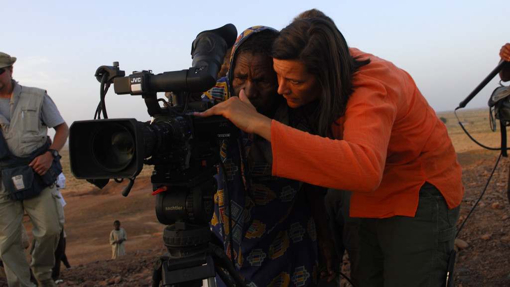 Kirsten Johnson in Darfur. Photo: Lynsey Addario