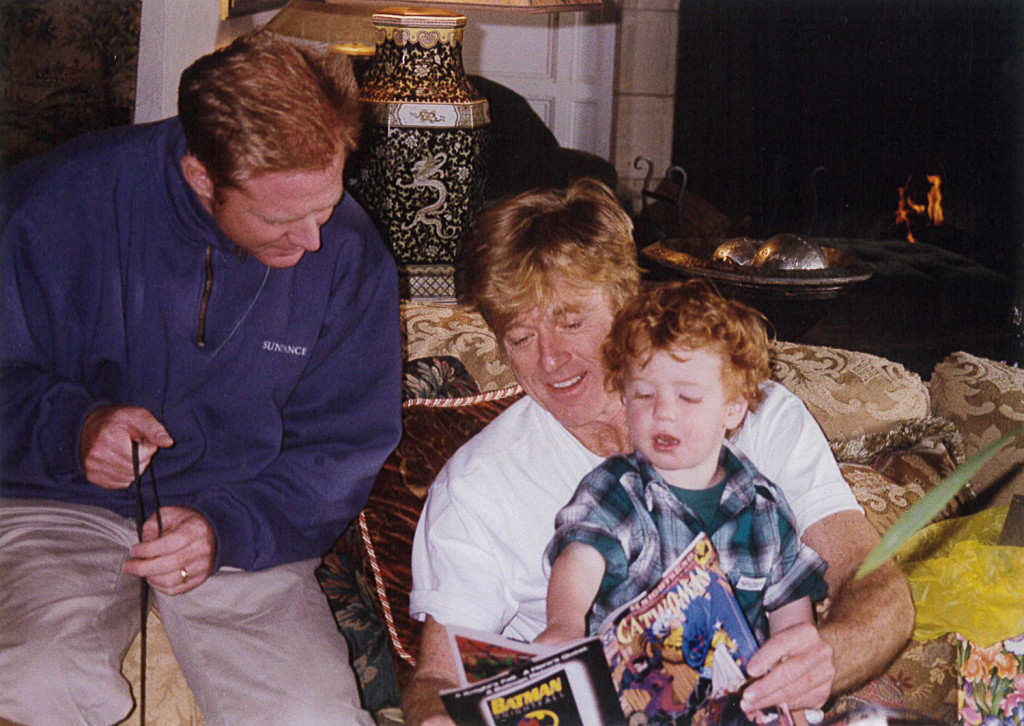 Dylan Redford with father X and grandfather Robert, c. 1994. Photo courtesy the Redford family