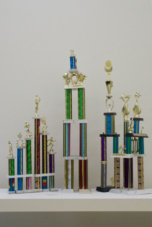 Kickball trophies created by artist Ginny Maki