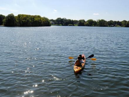 Kayaking on the Lake at Silverwood Park