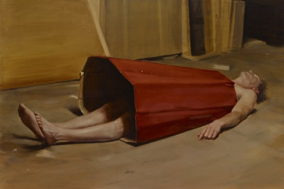 "Michael Borremans, ""The Devil's Dress,"" oil on panel, 2011.Courtesy of David Zwirner."