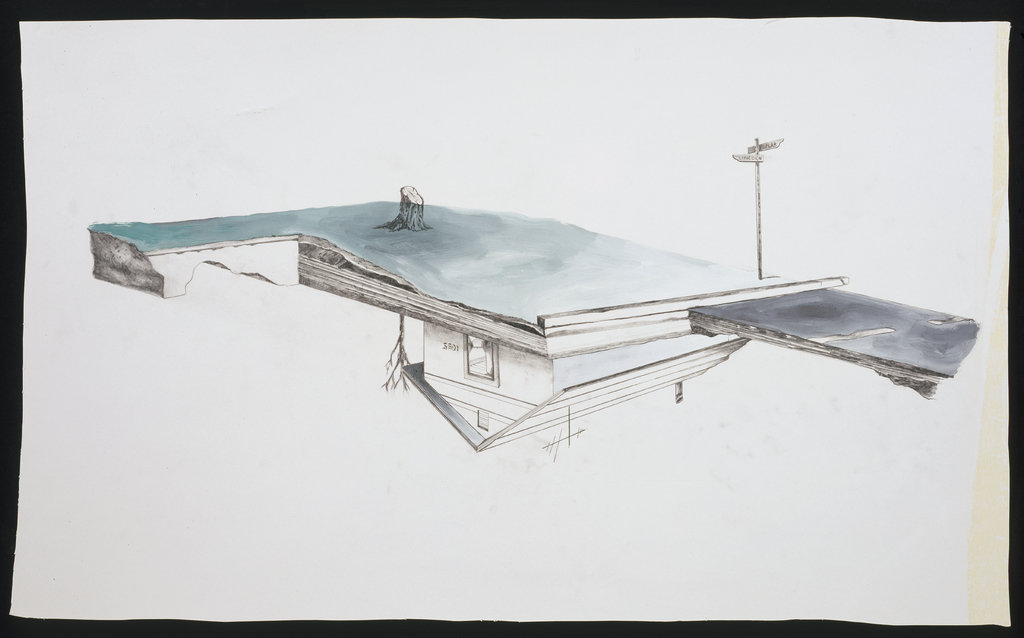 Edward Arceneaux, House Upside Down. Graphite, gouache on paper, 2000. Courtesy of the Walker Art Center.