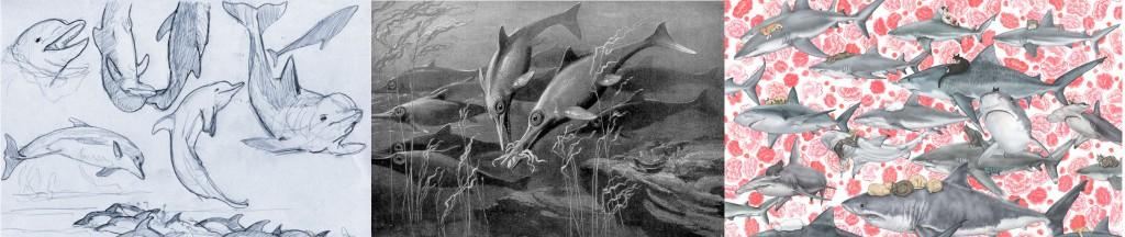 Dolphins, Ichthyosaurs, Sharks. Images from the public domain.