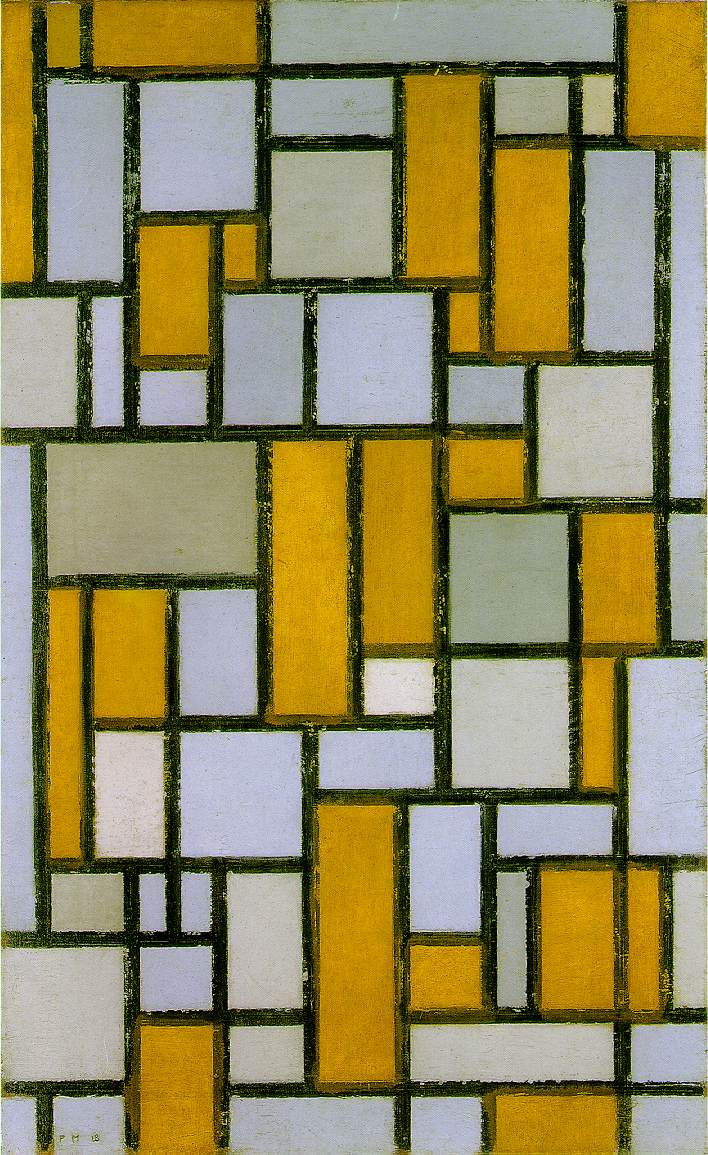 Piet Mondrian, Composition with Grid I, oil on canvas, 1918. Courtesy of the Museum of Fine Arts, Houston.