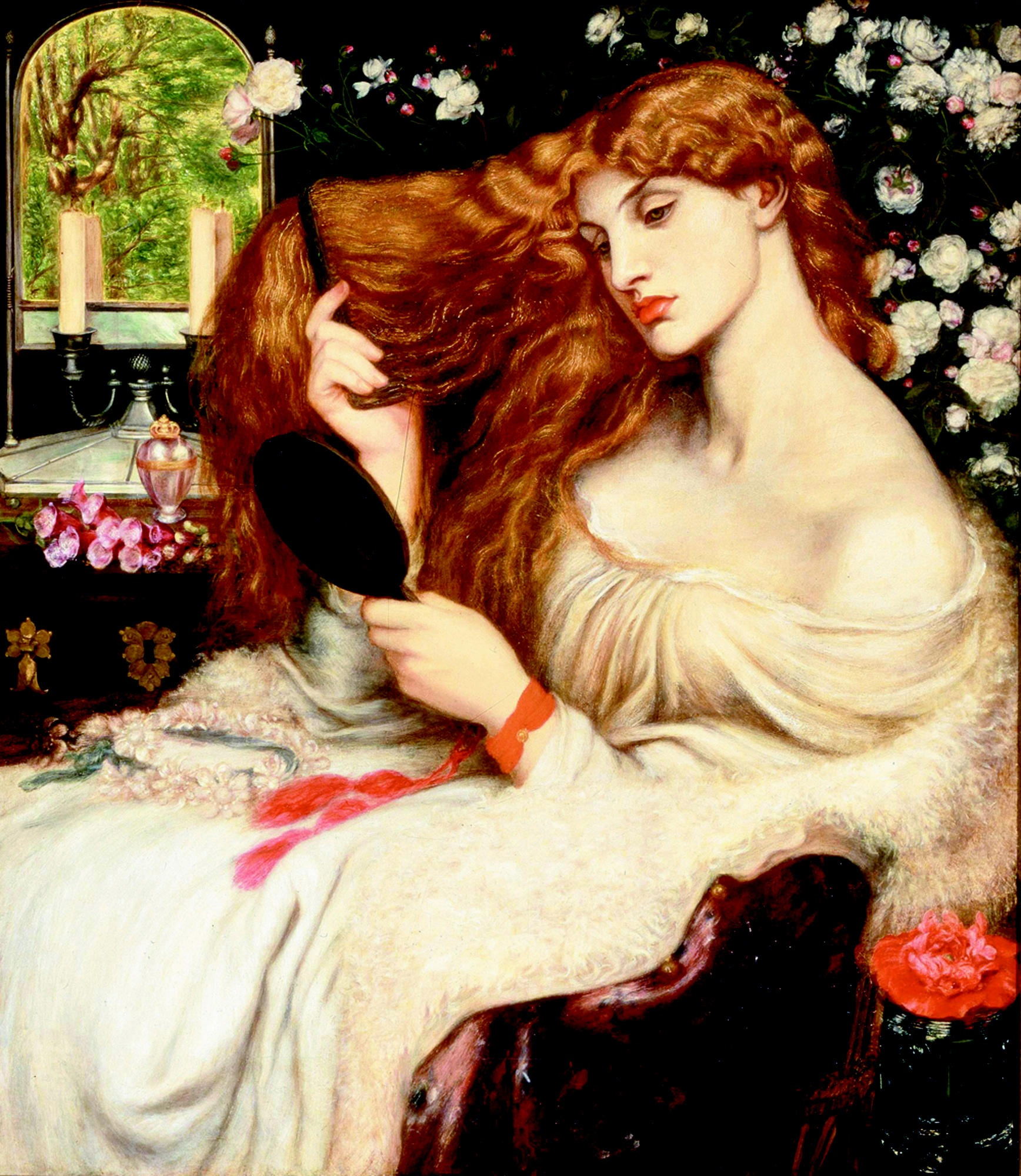 Dante Gabriel Rossetti, Lady Lillith, oil on canvas, 1866–68, 1872–73. Courtesy of the Delaware Art Museum.